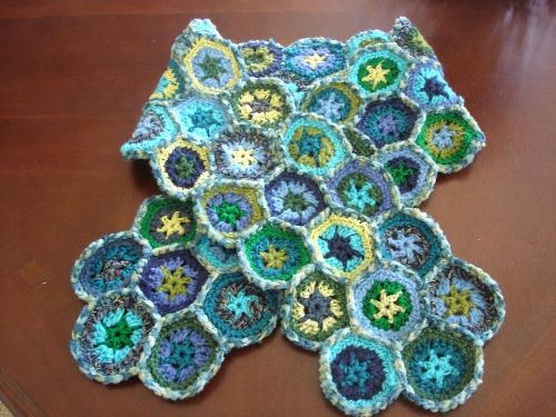 My Hand Crocheted Hexagon Afghan Scarf - My hand crocheted scarf, made with all shades of blue and green, hexagons (3 colors each), individually pieced together.