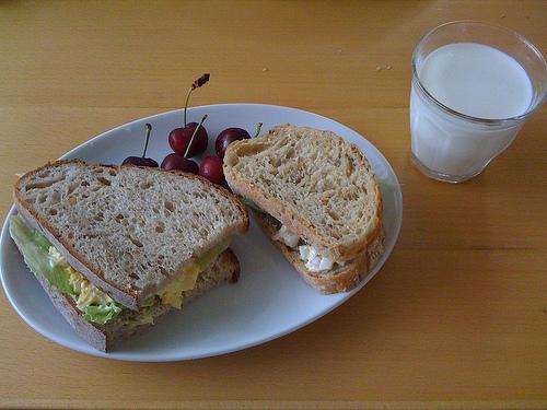 tuna sandwich and a glass of milk - tuna sandwich and milk break-up