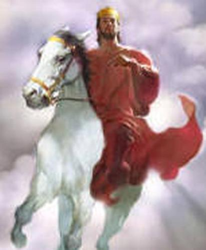 Jesus Christ Riding on a White Horse - An art about Jesus Christ riding on a white horse. This portrays His coming again as King.