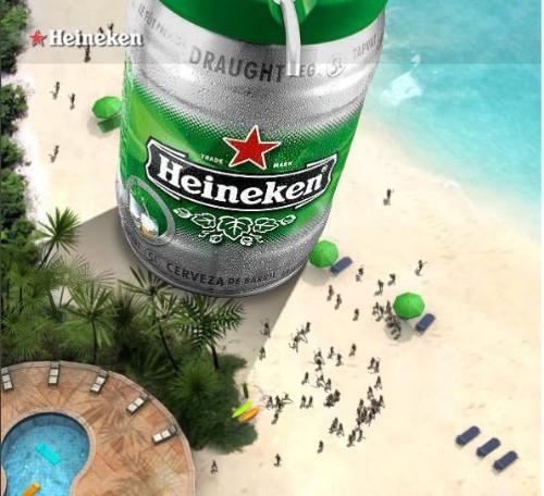 Giant Heineken beer - Heineken in beach