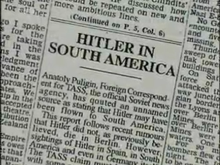 Hitler in South America - Hitler in South America. Taken from a newspaper. One of the evidences that Hitler did not kill himself in Berlin's bunker.