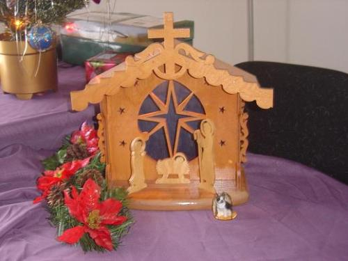 My Nativity scene - I found this handmade Nativity in a thrift store. It is a beautiful piece and really brings a wonderful spirit to the room.