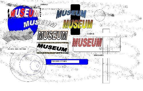 museums  - the word museums spelled with graphic designs