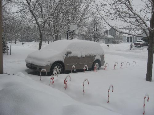 My car covered with snow - My car covered with snow during the snow storm today.