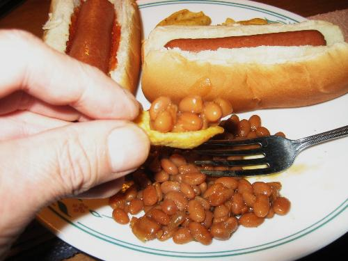 Summer meal in winter - Baked beans, hot dogs, and Frito Chips.