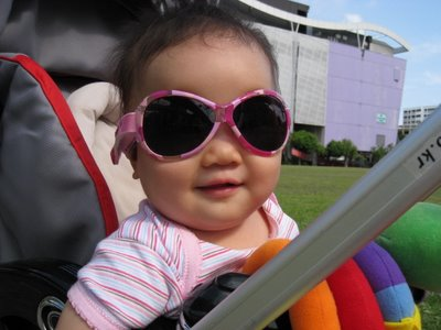 baby with sunglasses - baby wearing baby banz, sunglasses just for babies.