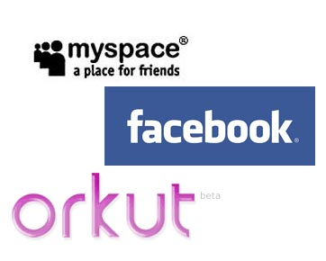 compare these - The picture shows the logo for three popular social websites namely orkut,facebook and myspace. Which one is best? Hard to say for me.