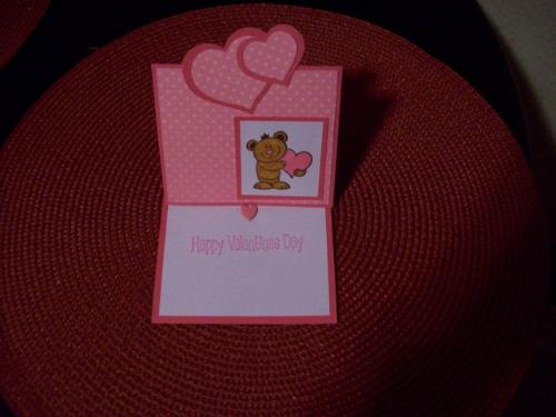 Handmade Valentines - Little teddy bear holds my heart! Valentines easel cards were fun to make and a bit different then usual.