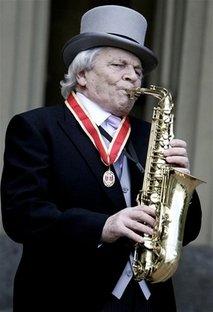 Sir John Dankworth - Picture of Sir John playing the saxophone.