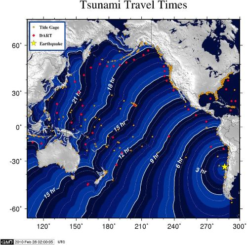tsunami travel time - Courtesy: http://wcatwc.arh.noaa.gov/