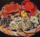 seafood - This plate contains a colorful array of seafood.