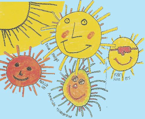 sun, lots of suns, happy sunny day - lots of suns that has been drawn by children, happy, sunny day