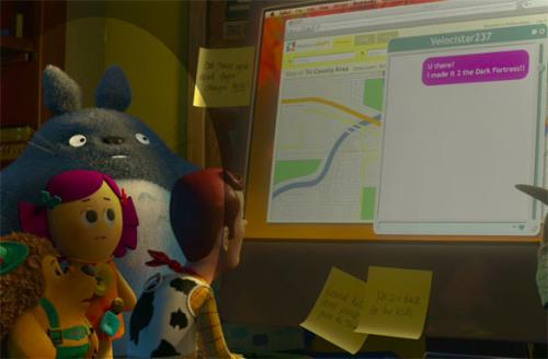 Totoro toy - a screenshot from Toy Story 3 with Totoro.