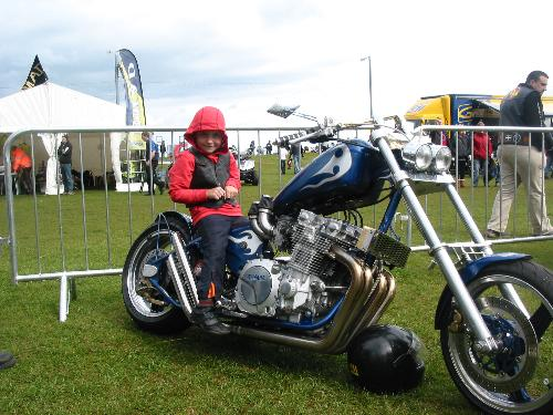 my mate Kevs bike which he built himself with my s - my mate kevs bike that he built himelf with my son sat on it