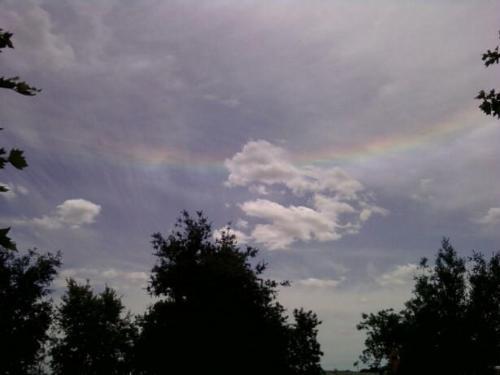 sun rainbow - rainbow around sun near Lake Natomas