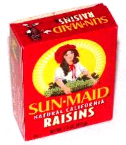 Raisins - A box of raisins, something that I have readily available at all times on my desk.
