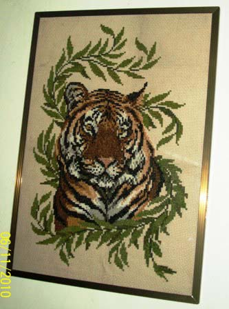 cross stitch - My artwork design is a cross stitch Tiger.