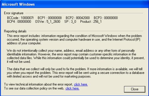 problem mp4 - message i get after rebooting