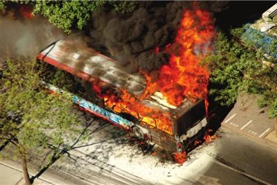 burnning bus - a bus in Beijing self-burned