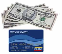 credit card - Credit or debit card and cash