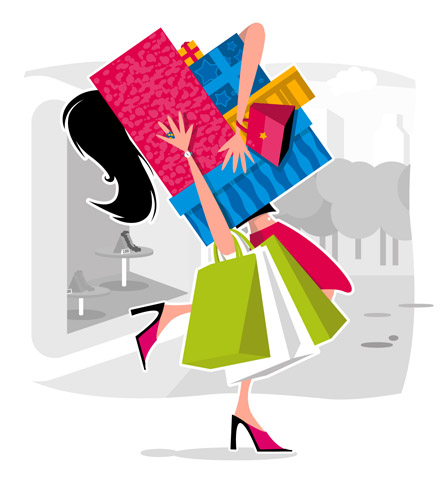 Shopping girl - A girl, that loves shopping and shops a lot.