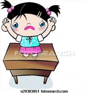 punishment - Child made to raise her hand and stand on a desk