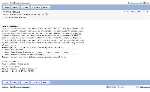 Anonymously From - An email screenshot from an anonymous