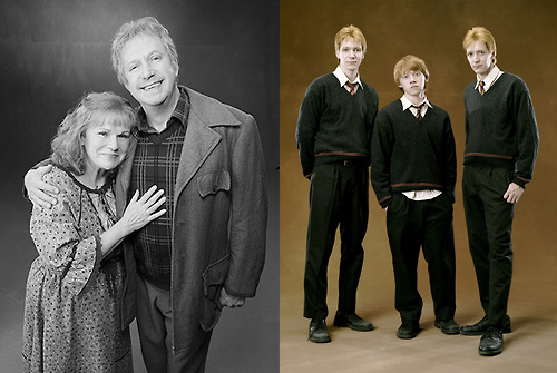 Weasley family - Mr. and Mrs. Weasley in black and white, and the youngest boys Fred, George and Ron.