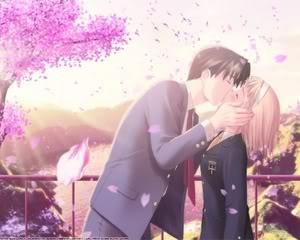 sweet kiss - sweet lovers near cherry tree
