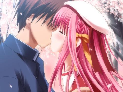 cute first kiss - cute couple kissing