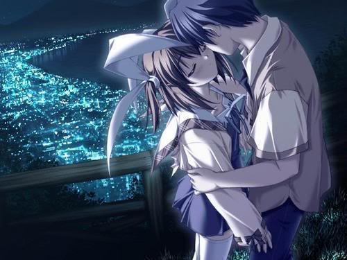 kiss in the moonlight - couple almost kissing in the moonlight