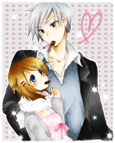 cute love - boy and girl eating chocolates ahah^^