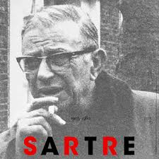 Jean Paul Sartre - The image shows the philosopher Jean Paul Sartre with his usual stick of cigarette.