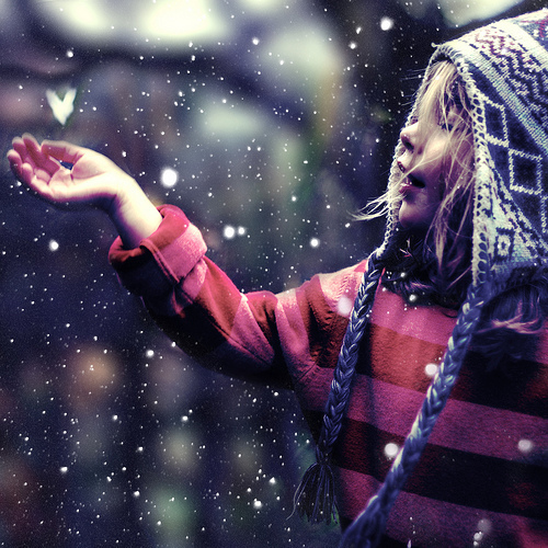 Making Money is Like Catching Snowflakes - little girl catching snowflakes... if only money fell from the sky... ;)