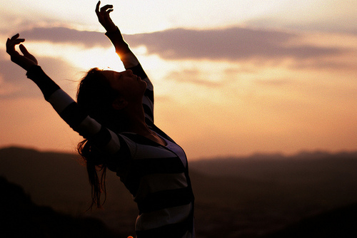 Praising God - Hands in the air, praising the one and only LORD :)