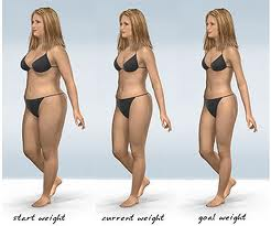 Before and After - 3d image of a woman loosing weight