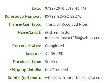 Payment proof - This is the proof of payment I got from AlertPay. Now we all know that OrbisTrends is a trusted website.