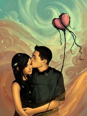 true love^^ - boy kissing girl in cheek^^