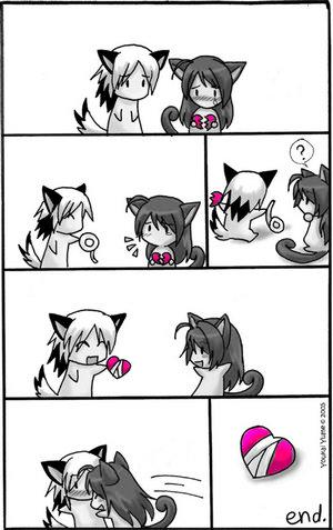 cute love cartoon^^ - girl is in love with boy^^
