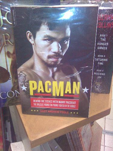 Pacman in National Bookstore - This is Manny's book.