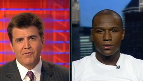 Brian Kenny Interviewing Floyd Mayweather Jr. - This photo is a screen capture of the interview of Floyd Mayweather Jr with Brian Kenny. Where Brian challenged Floyd Jr. by asking him if he's willing to fight with Manny Pacquiao.