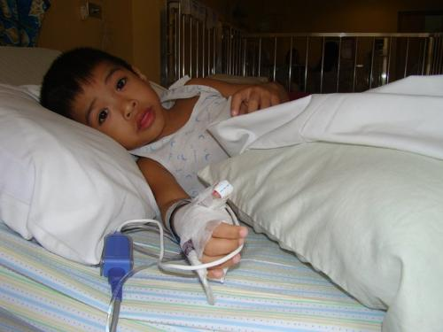 Zayzay at the hospital - this photo was taken a day after the surgery...
