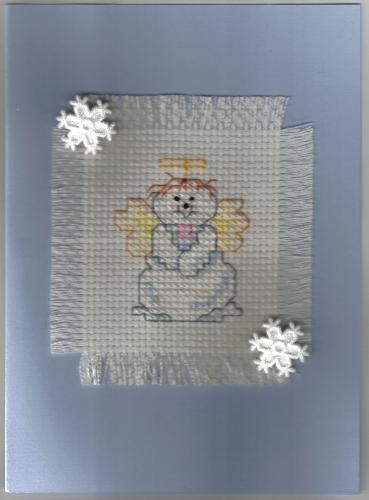Snow Baby Cross Stitch Card - One of my many handcrafted cross stitch cards