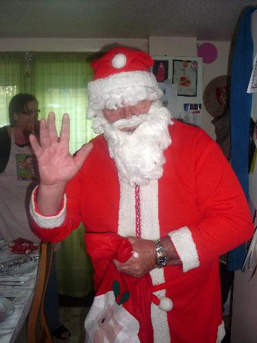 Santa at work! - My hubby 'helping out' Santa on Christmas Eve!