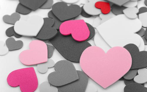 hearts - black, white, pink, red hearts