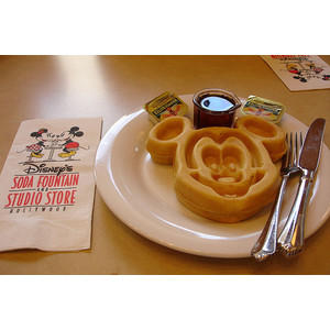 Mickey Mouse shaped waffle - Image was found on: http://t.luuux.com/SHMJc?url=http%3A%2F%2Fwww.luuux.com%2Ffood%2Fmicky-mouse-waffles%3Ftid%3D%7Btransaction_id%7D%26aff_id%3D%7Baffiliate_id%7D