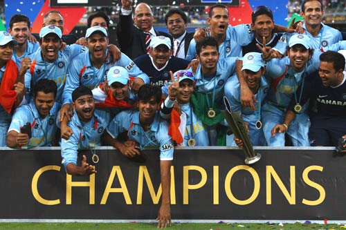 T20 world cup winning squad - Picture of the Indian Cricket team, which won the inaugural 20-20 world cup. The team was captained by M.S.Dhoni