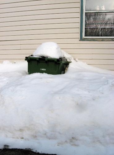 Snow Covered Garbage container - One of my garbage cans