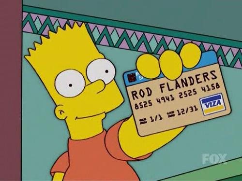 credit card picture holding up - Bart Simpson holding up credit card