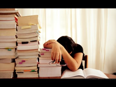 Books and me  - This photo shows now a days how much burden of the study. The students are tired with this books and then sleeping on the book.